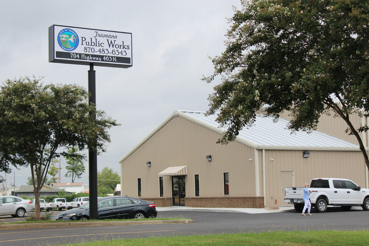 Picture of the Trumann Public Works building and sign